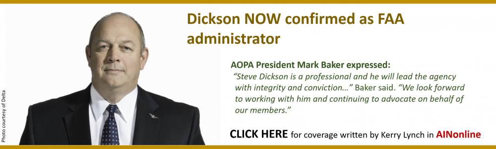 DICKSON CONFIRMED AS FAA LEAD