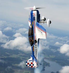 Aerobatic plane flying a Vertical Flight Upline